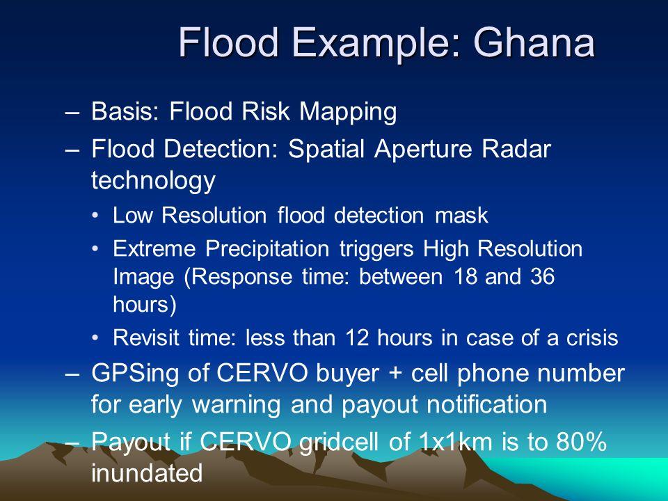 Flood Example: Ghana –Basis: Flood Risk Mapping –Flood Detection: Spatial Aperture Radar technology Low Resolution flood detection mask Extreme Precip