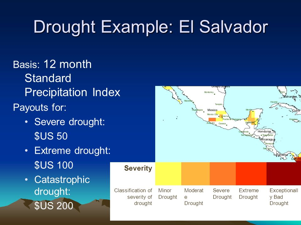 Drought Example: El Salvador Basis: 12 month Standard Precipitation Index Payouts for: Severe drought: $US 50 Extreme drought: $US 100 Catastrophic drought: $US 200 Severity Classification of severity of drought Minor Drought Moderat e Drought Severe Drought Extreme Drought Exceptionall y Bad Drought