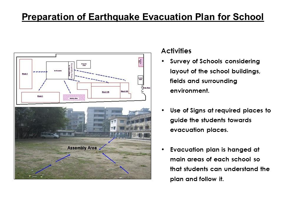 Preparation of Earthquake Evacuation Plan for School Activities Survey of Schools considering layout of the school buildings, fields and surrounding e