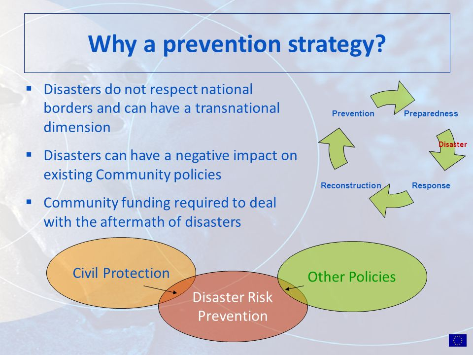 Preparedness ResponseReconstruction Prevention Disaster Why a prevention strategy? Disasters do not respect national borders and can have a transnatio
