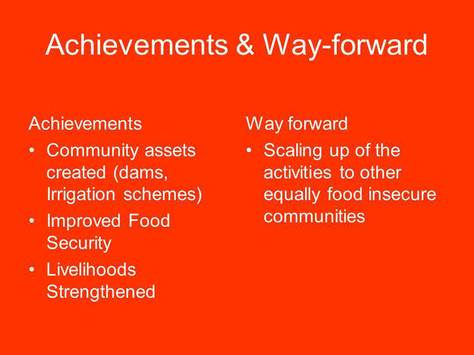 Achievements & Way-forward Achievements Community assets created (dams, Irrigation schemes) Improved Food Security Livelihoods Strengthened Way forwar