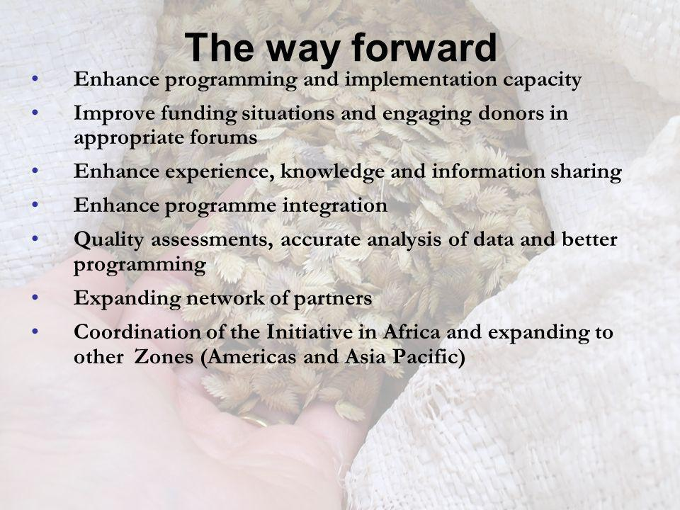 The way forward Enhance programming and implementation capacity Improve funding situations and engaging donors in appropriate forums Enhance experienc