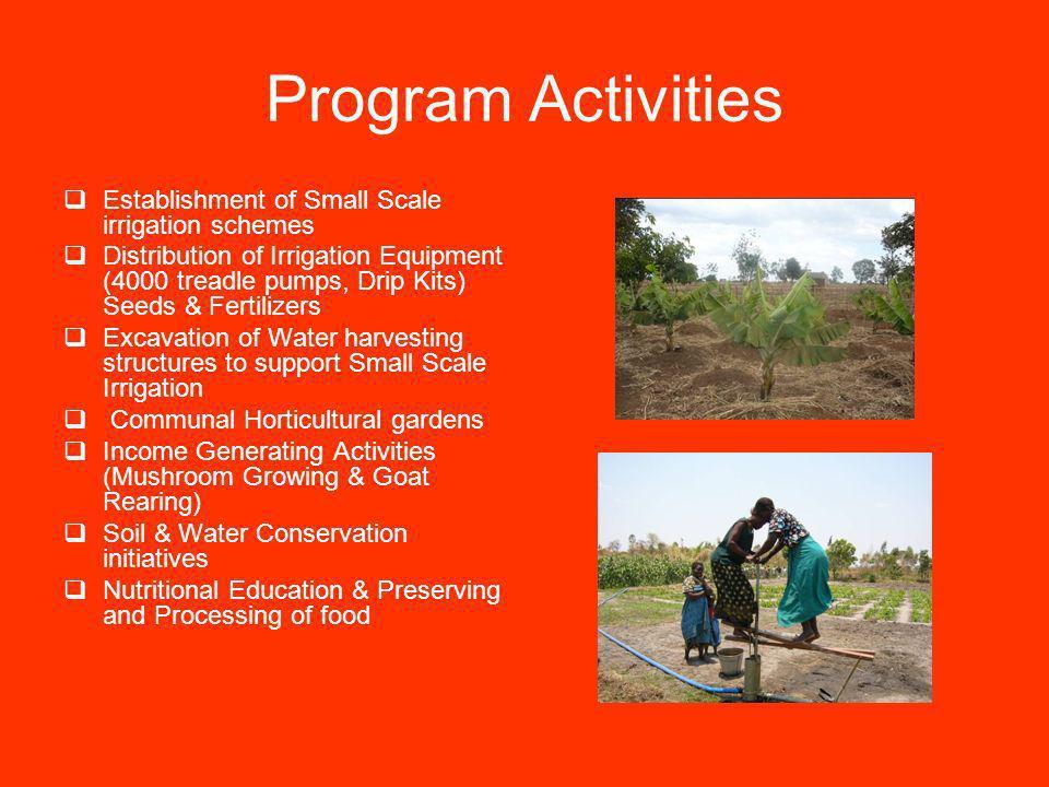 Program Activities Establishment of Small Scale irrigation schemes Distribution of Irrigation Equipment (4000 treadle pumps, Drip Kits) Seeds & Fertil