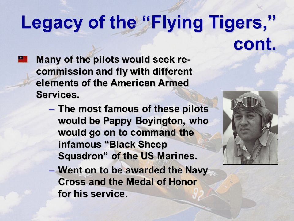 Legacy of the Flying Tigers The AVG was officially disbanded on July 4, 1942, with American fighters beginning to enter the theater.