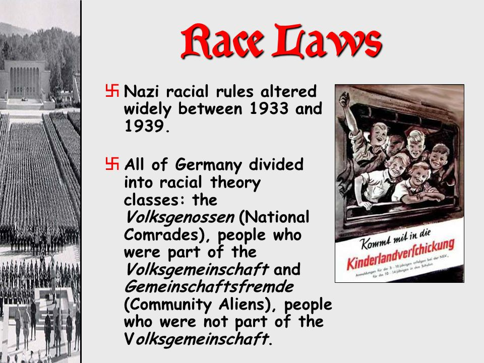 Race Laws xNazi racial rules altered widely between 1933 and 1939. xAll of Germany divided into racial theory classes: the Volksgenossen (National Com