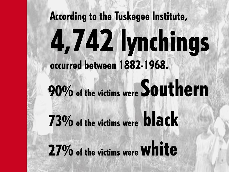90% of the victims were Southern 73% of the victims were black 27% of the victims were white According to the Tuskegee Institute, 4,742 lynchings occu