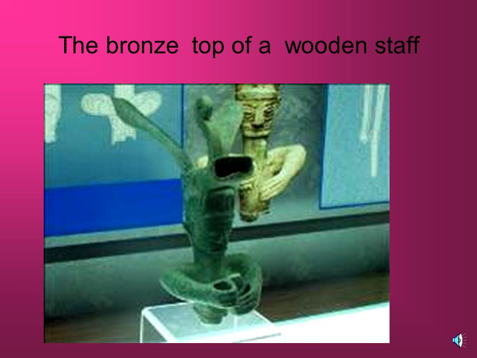 The bronze top of a wooden staff