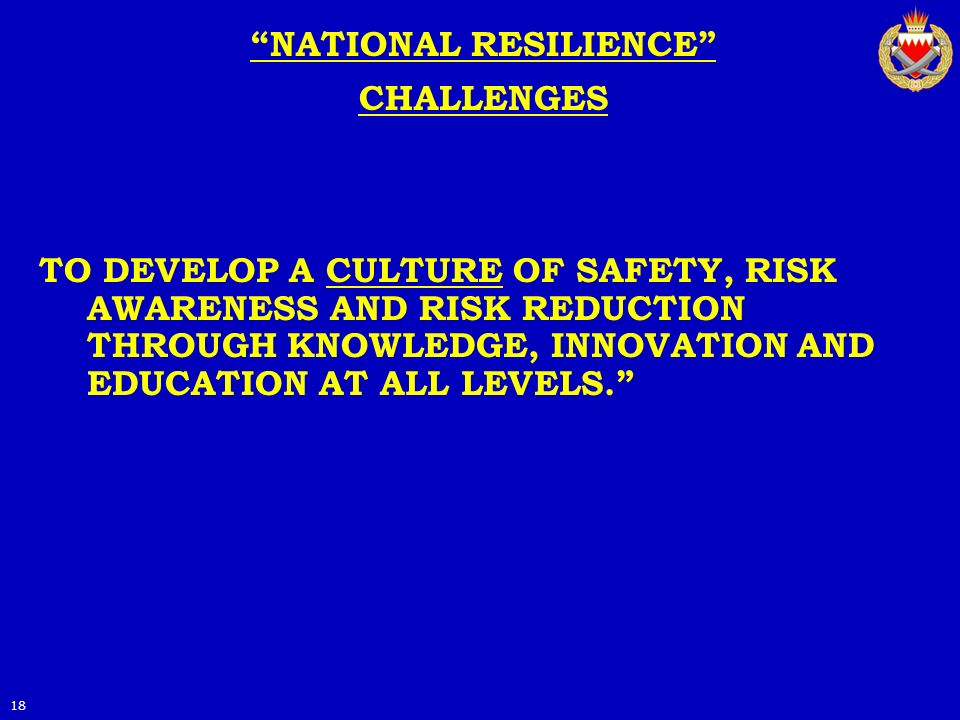 NATIONAL RESILIENCE CHALLENGES TO DEVELOP A CULTURE OF SAFETY, RISK AWARENESS AND RISK REDUCTION THROUGH KNOWLEDGE, INNOVATION AND EDUCATION AT ALL LE