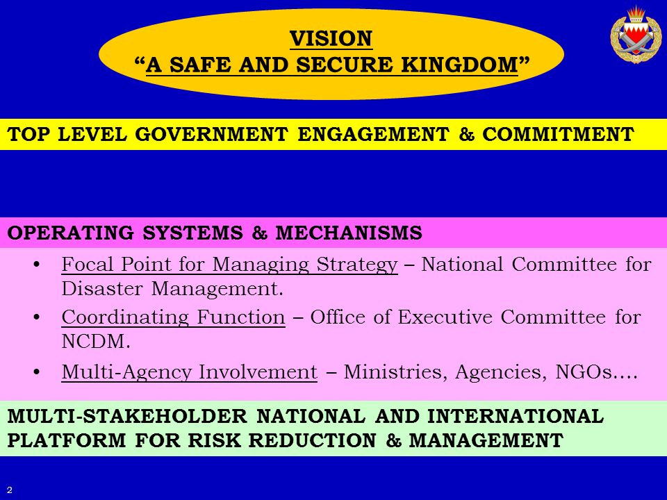 2 MULTI-STAKEHOLDER NATIONAL AND INTERNATIONAL PLATFORM FOR RISK REDUCTION & MANAGEMENT OPERATING SYSTEMS & MECHANISMS TOP LEVEL GOVERNMENT ENGAGEMENT