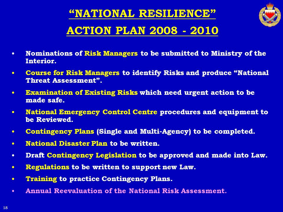 NATIONAL RESILIENCE ACTION PLAN 2008 - 2010 Nominations of Risk Managers to be submitted to Ministry of the Interior. Course for Risk Managers to iden