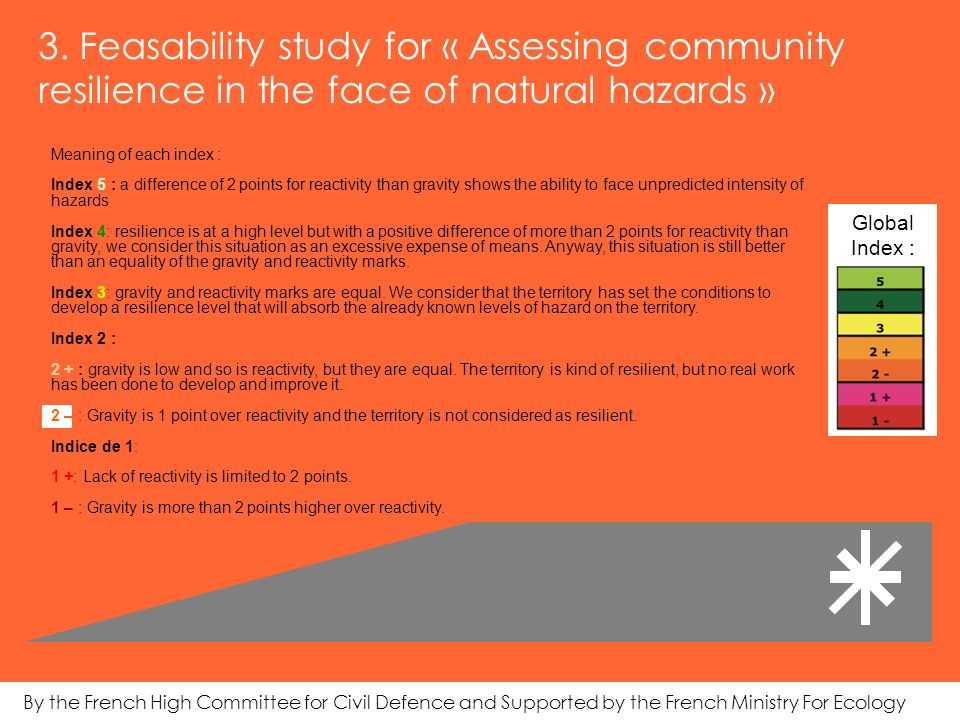 3. Feasability study for « Assessing community resilience in the face of natural hazards » Meaning of each index : Index 5 : a difference of 2 points