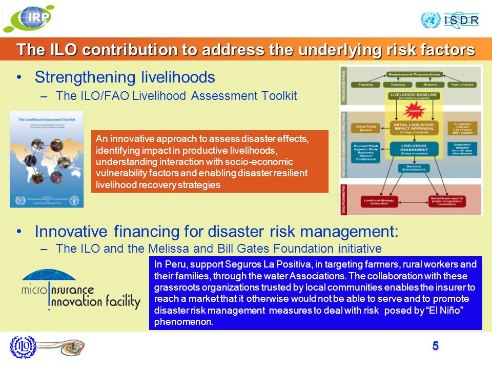 5 The ILO contribution to address the underlying risk factors Strengthening livelihoods –The ILO/FAO Livelihood Assessment Toolkit Innovative financing for disaster risk management: –The ILO and the Melissa and Bill Gates Foundation initiative In Peru, support Seguros La Positiva, in targeting farmers, rural workers and their families, through the water Associations.