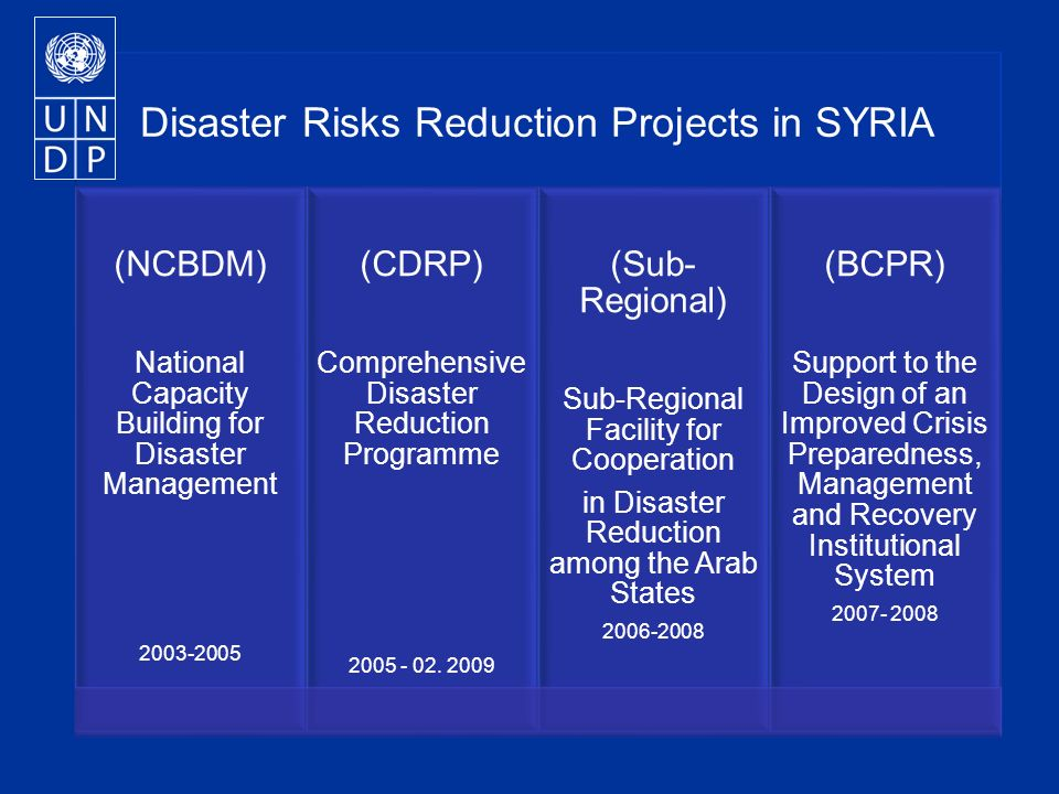 Disaster Risks Reduction Projects in SYRIA (NCBDM) National Capacity Building for Disaster Management (CDRP) Comprehensive Disaster Reduction Programme