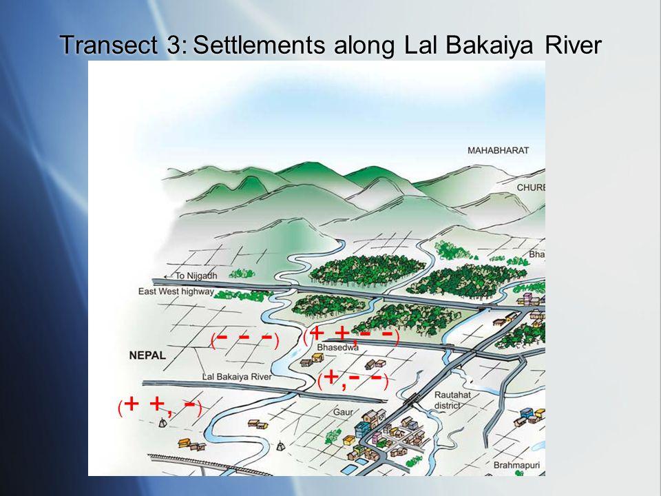 ( + +, - - ) ( - - - ) ( +, - - ) ( + +, - ) Transect 3: Settlements along Lal Bakaiya River