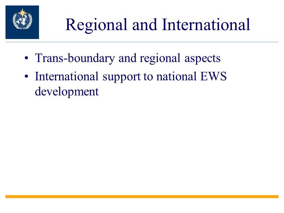Regional and International Trans-boundary and regional aspects International support to national EWS development