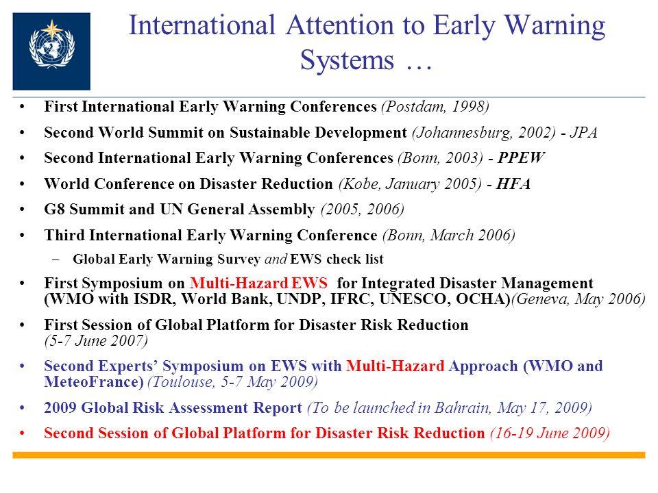 First International Early Warning Conferences (Postdam, 1998) Second World Summit on Sustainable Development (Johannesburg, 2002) - JPA Second Interna