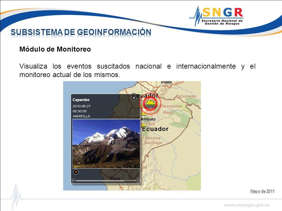 Módulo de Monitoreo Visualiza los eventos suscitados nacional e internacionalmente y el monitoreo actual de los mismos.