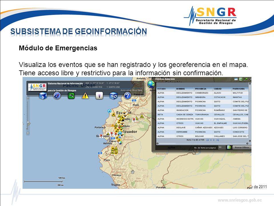 Módulo de Emergencias Visualiza los eventos que se han registrado y los georeferencia en el mapa.