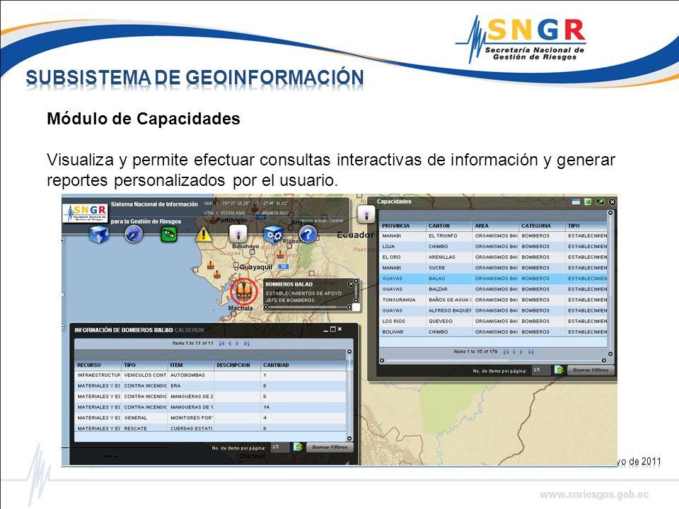 Módulo de Capacidades Visualiza y permite efectuar consultas interactivas de información y generar reportes personalizados por el usuario.