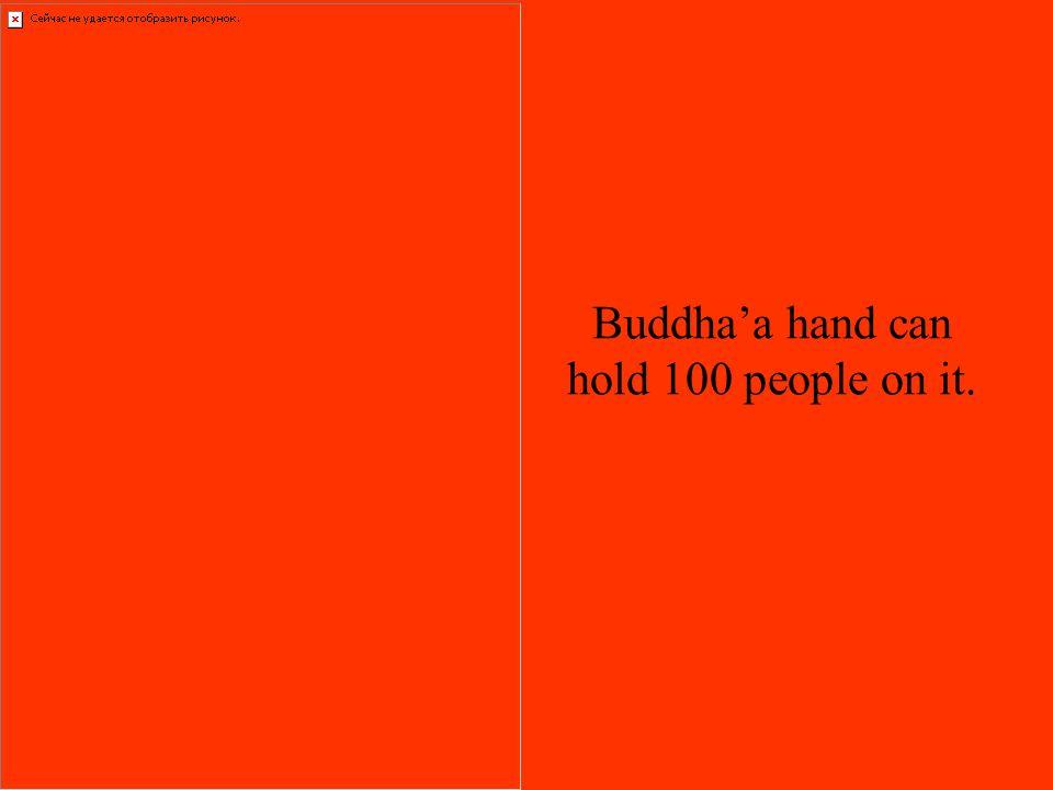 Buddhaa hand can hold 100 people on it.