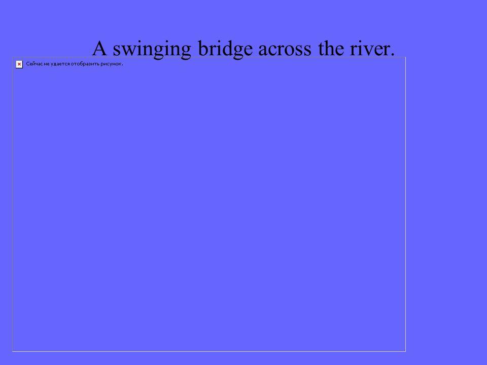 A swinging bridge across the river.