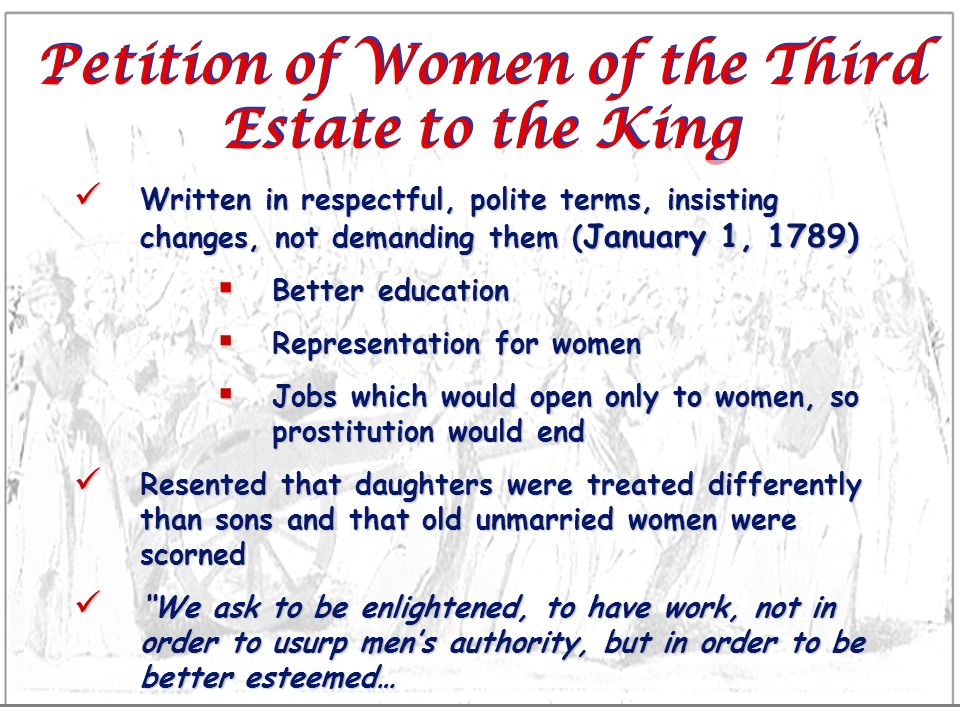 Petition of Women of the Third Estate to the King Written in respectful, polite terms, insisting changes, not demanding them ( January 1, 1789) Writte