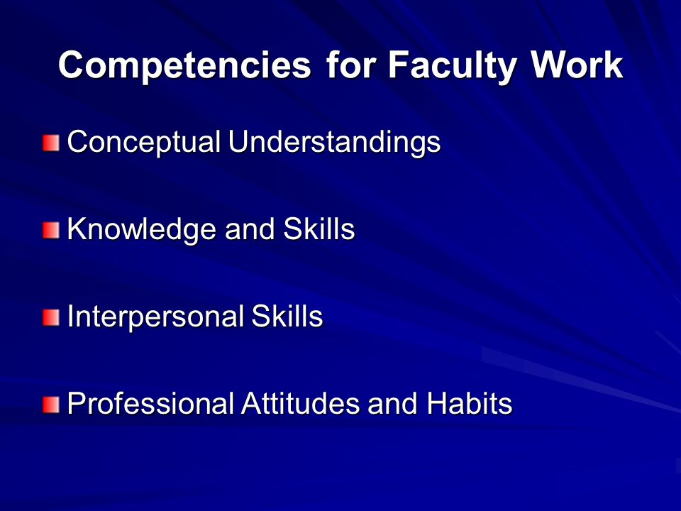 Competencies for Faculty Work Conceptual Understandings Knowledge and Skills Interpersonal Skills Professional Attitudes and Habits