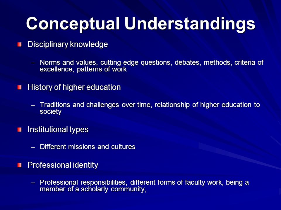 Conceptual Understandings Disciplinary knowledge –Norms and values, cutting-edge questions, debates, methods, criteria of excellence, patterns of work History of higher education –Traditions and challenges over time, relationship of higher education to society Institutional types –Different missions and cultures Professional identity –Professional responsibilities, different forms of faculty work, being a member of a scholarly community,