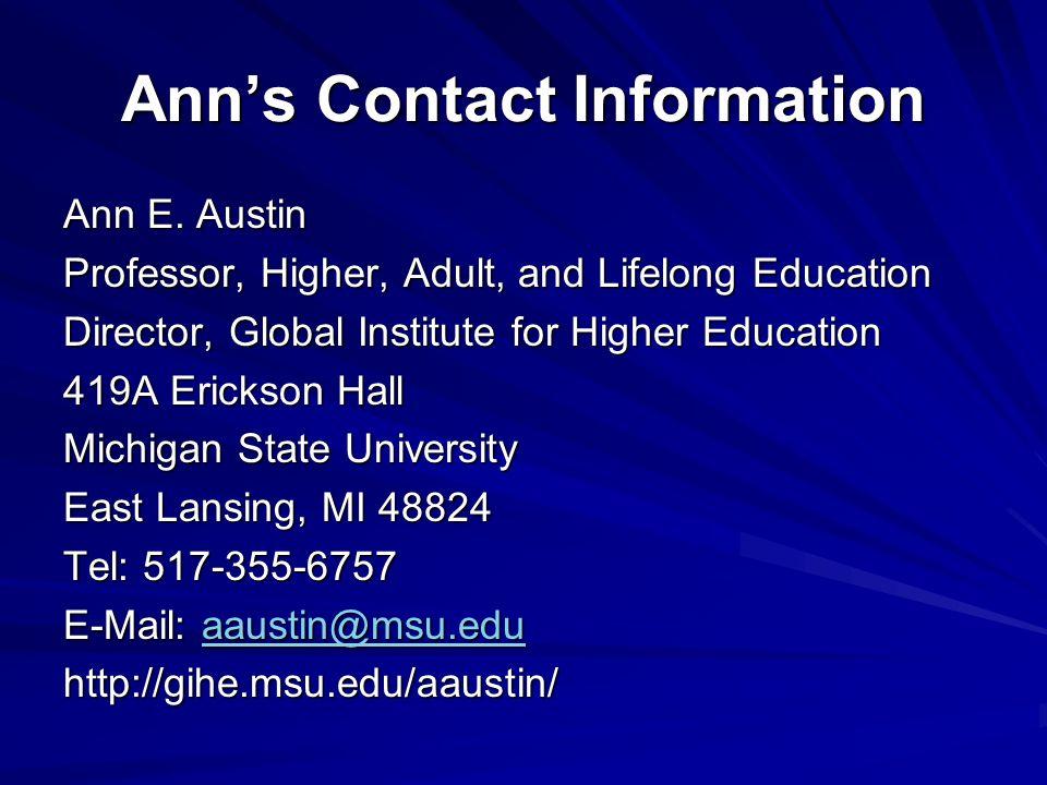 Anns Contact Information Ann E.