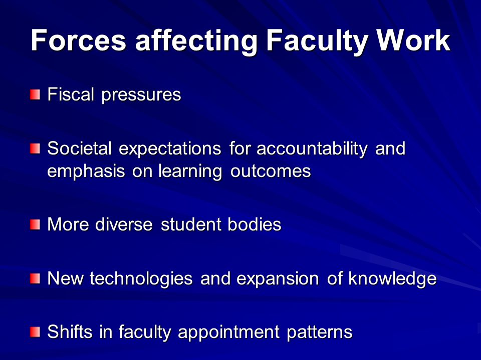 Forces affecting Faculty Work Fiscal pressures Societal expectations for accountability and emphasis on learning outcomes More diverse student bodies New technologies and expansion of knowledge Shifts in faculty appointment patterns