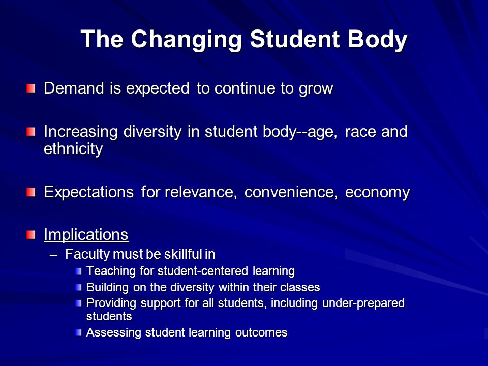 The Changing Student Body Demand is expected to continue to grow Increasing diversity in student body--age, race and ethnicity Expectations for relevance, convenience, economy Implications –Faculty must be skillful in Teaching for student-centered learning Building on the diversity within their classes Providing support for all students, including under-prepared students Assessing student learning outcomes