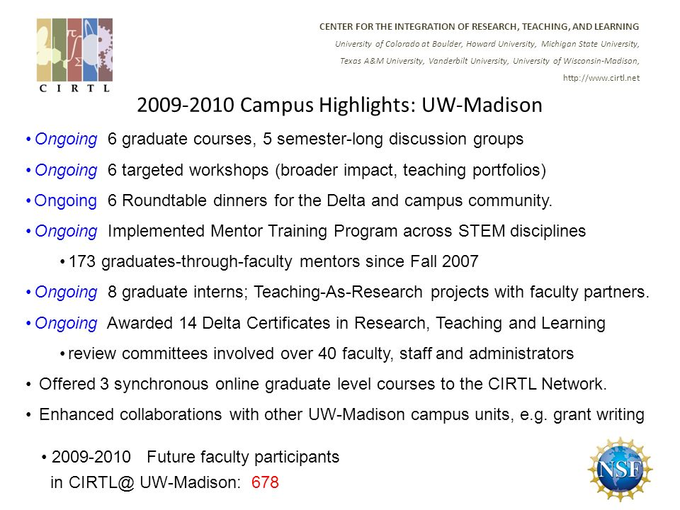 CENTER FOR THE INTEGRATION OF RESEARCH, TEACHING, AND LEARNING University of Colorado at Boulder, Howard University, Michigan State University, Texas A&M University, Vanderbilt University, University of Wisconsin-Madison, Campus Highlights: UW-Madison Ongoing 6 graduate courses, 5 semester-long discussion groups Ongoing 6 targeted workshops (broader impact, teaching portfolios) Ongoing 6 Roundtable dinners for the Delta and campus community.