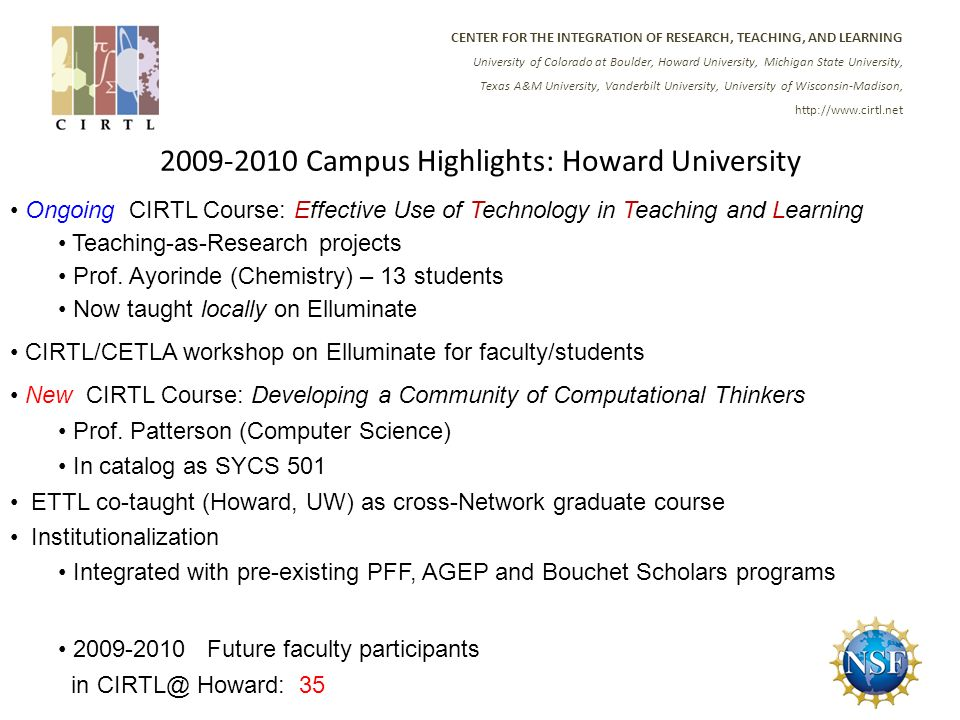 CENTER FOR THE INTEGRATION OF RESEARCH, TEACHING, AND LEARNING University of Colorado at Boulder, Howard University, Michigan State University, Texas A&M University, Vanderbilt University, University of Wisconsin-Madison, Campus Highlights: Howard University Ongoing CIRTL Course: Effective Use of Technology in Teaching and Learning Teaching-as-Research projects Prof.