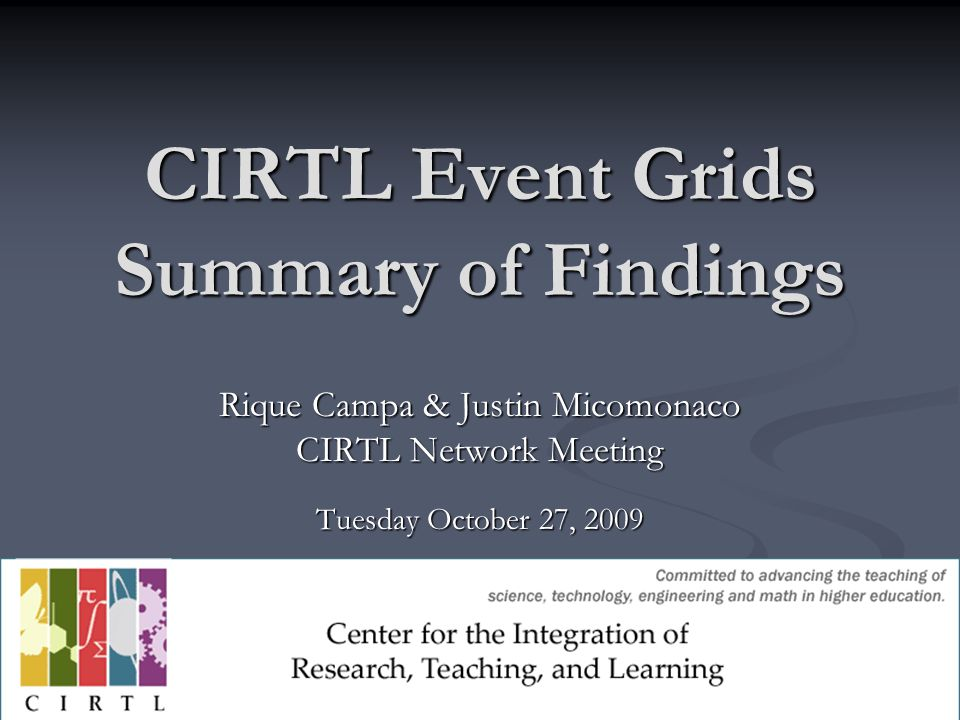 CIRTL Event Grids Summary of Findings Rique Campa & Justin Micomonaco CIRTL Network Meeting Tuesday October 27, 2009