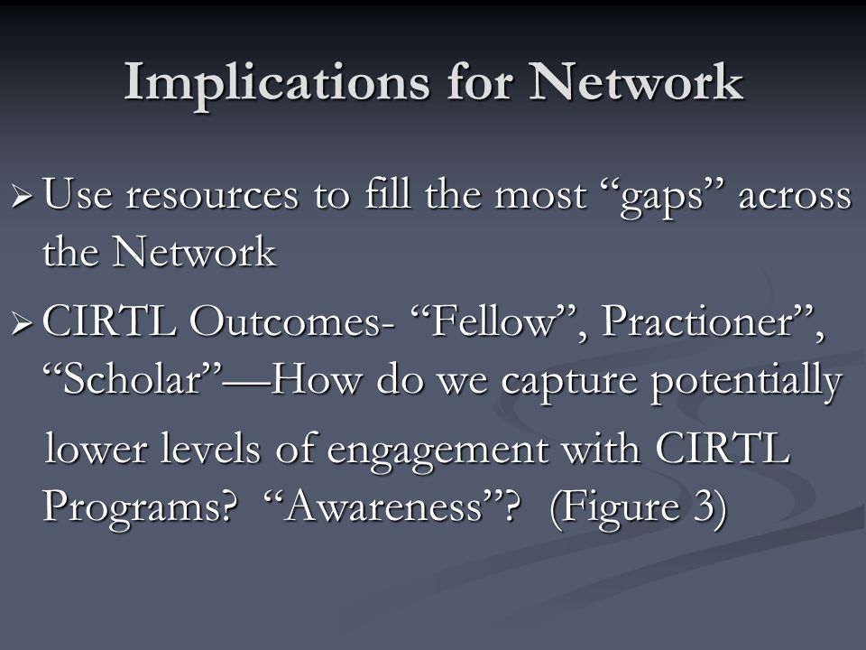 Implications for Network Use resources to fill the most gaps across the Network Use resources to fill the most gaps across the Network CIRTL Outcomes- Fellow, Practioner, ScholarHow do we capture potentially CIRTL Outcomes- Fellow, Practioner, ScholarHow do we capture potentially lower levels of engagement with CIRTL Programs.