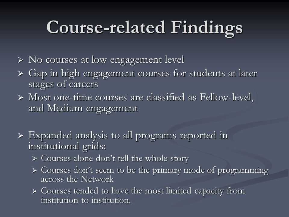 Course-related Findings No courses at low engagement level No courses at low engagement level Gap in high engagement courses for students at later sta