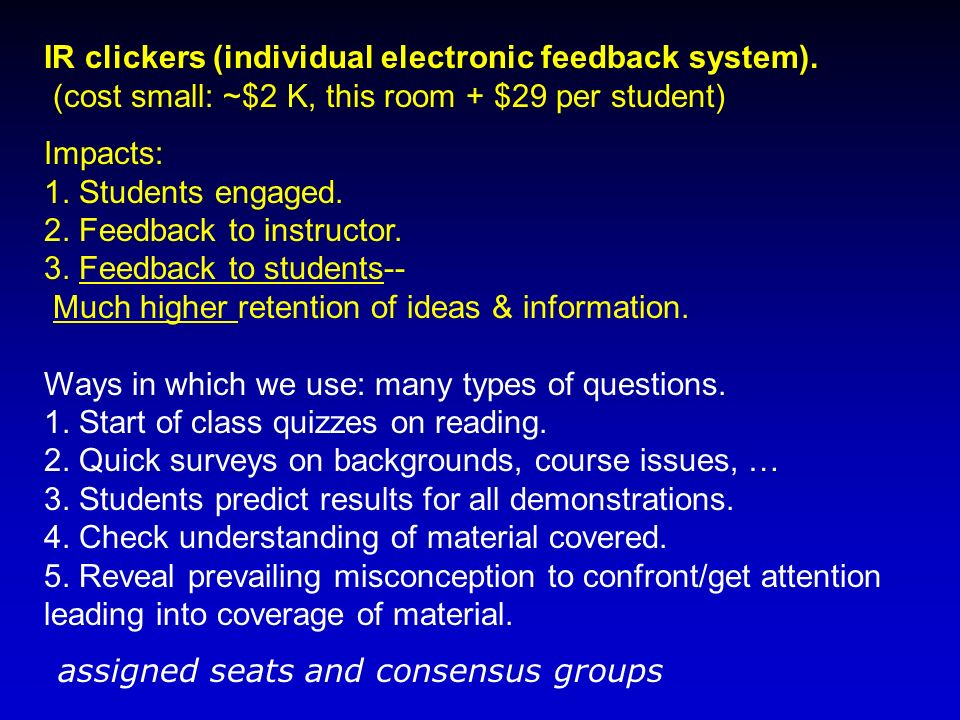 IR clickers (individual electronic feedback system).