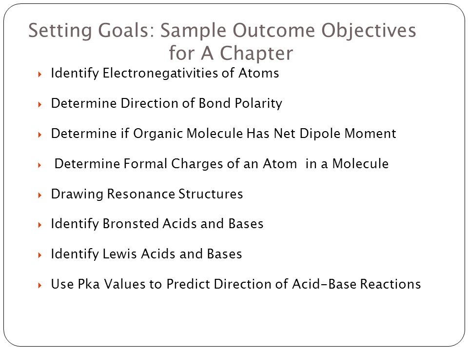 Setting Goals: Sample Outcome Objectives for A Chapter Identify Electronegativities of Atoms Determine Direction of Bond Polarity Determine if Organic Molecule Has Net Dipole Moment Determine Formal Charges of an Atom in a Molecule Drawing Resonance Structures Identify Bronsted Acids and Bases Identify Lewis Acids and Bases Use Pka Values to Predict Direction of Acid-Base Reactions