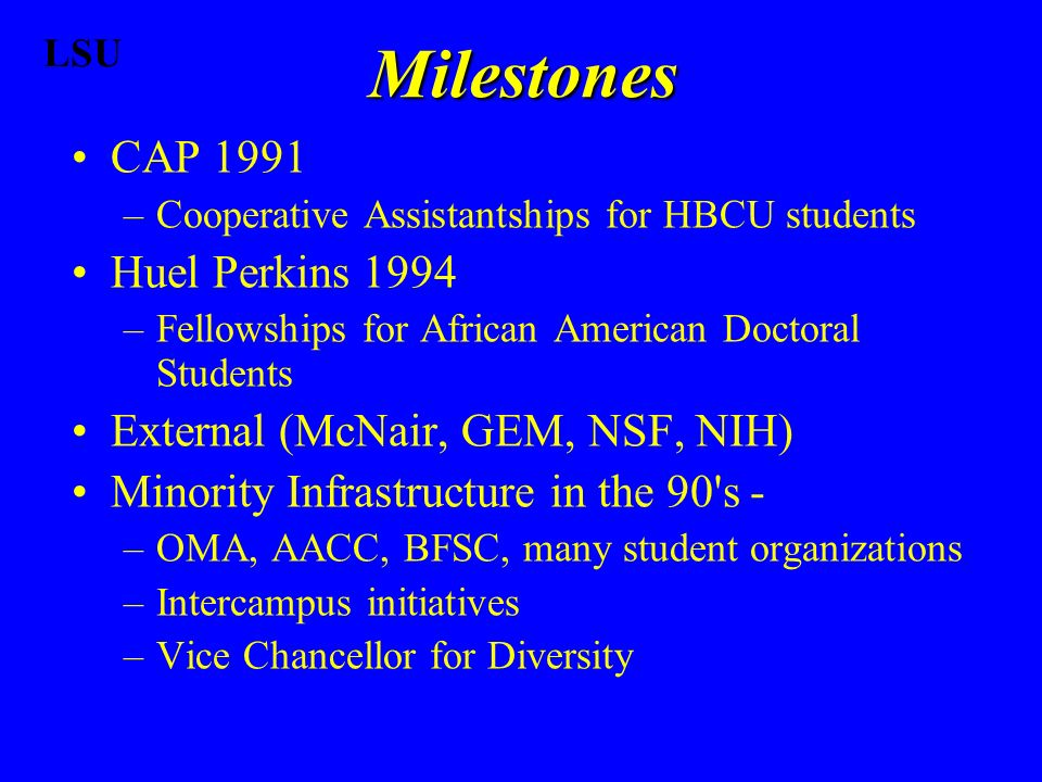 CAP 1991 –Cooperative Assistantships for HBCU students Huel Perkins 1994 –Fellowships for African American Doctoral Students External (McNair, GEM, NSF, NIH) Minority Infrastructure in the 90 s - –OMA, AACC, BFSC, many student organizations –Intercampus initiatives –Vice Chancellor for Diversity Milestones LSU