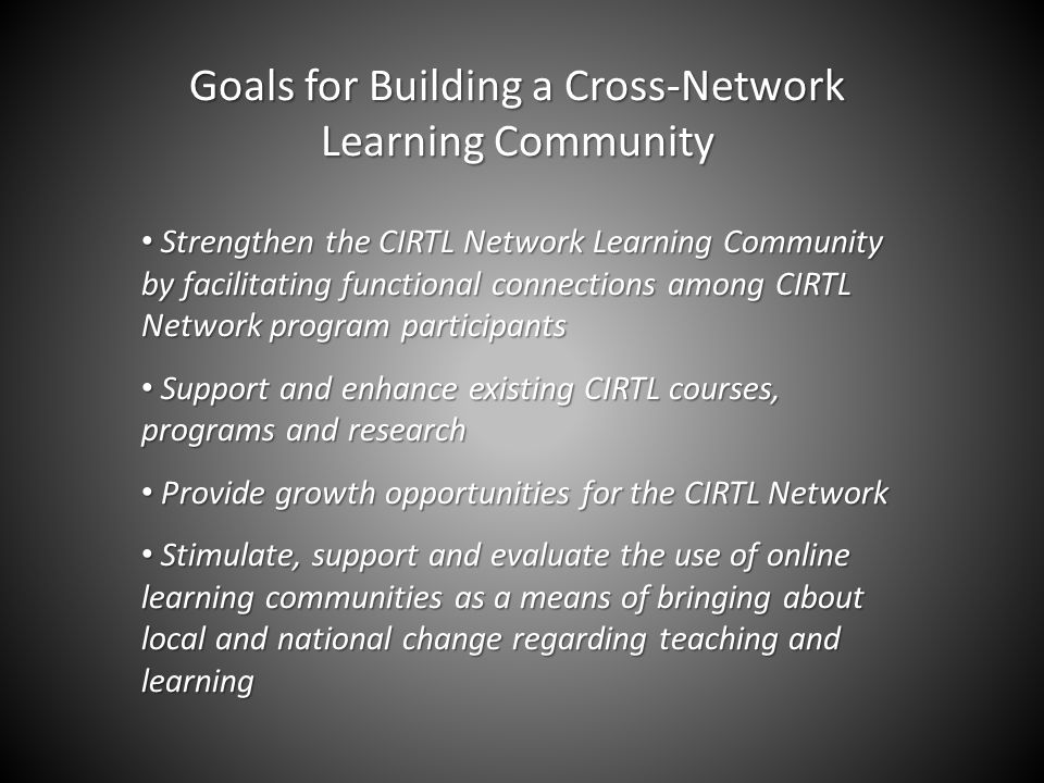 Goals for Building a Cross-Network Learning Community Strengthen the CIRTL Network Learning Community by facilitating functional connections among CIRTL Network program participants Strengthen the CIRTL Network Learning Community by facilitating functional connections among CIRTL Network program participants Support and enhance existing CIRTL courses, programs and research Support and enhance existing CIRTL courses, programs and research Provide growth opportunities for the CIRTL Network Provide growth opportunities for the CIRTL Network Stimulate, support and evaluate the use of online learning communities as a means of bringing about local and national change regarding teaching and learning Stimulate, support and evaluate the use of online learning communities as a means of bringing about local and national change regarding teaching and learning