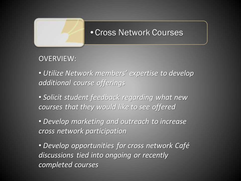 Cross Network CoursesCross Network Courses OVERVIEW: Utilize Network members expertise to develop additional course offerings Utilize Network members expertise to develop additional course offerings Solicit student feedback regarding what new courses that they would like to see offered Solicit student feedback regarding what new courses that they would like to see offered Develop marketing and outreach to increase cross network participation Develop marketing and outreach to increase cross network participation Develop opportunities for cross network Café discussions tied into ongoing or recently completed courses Develop opportunities for cross network Café discussions tied into ongoing or recently completed courses