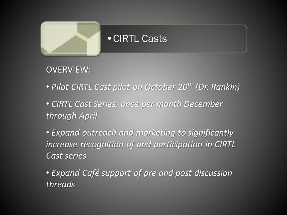 CIRTL CastsCIRTL Casts OVERVIEW: Pilot CIRTL Cast pilot on October 20 th (Dr.