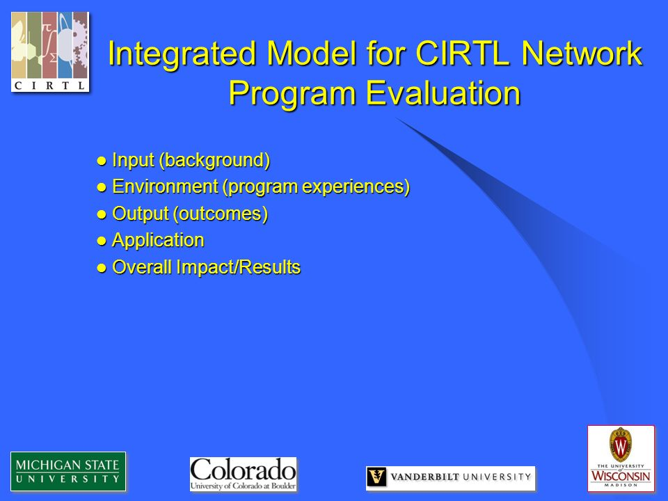 Integrated Model for CIRTL Network Program Evaluation Input (background) Input (background) Environment (program experiences) Environment (program exp