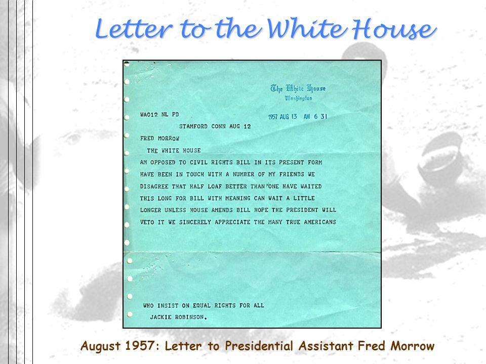 Letter to the White House August 1957: Letter to Presidential Assistant Fred Morrow