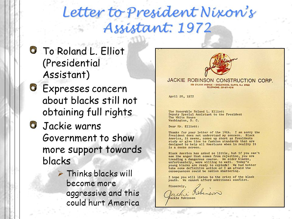 Letter to President Nixons Assistant: 1972 To Roland L. Elliot (Presidential Assistant) Expresses concern about blacks still not obtaining full rights