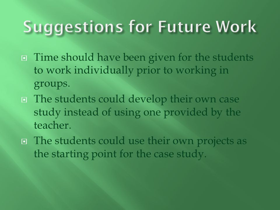 Time should have been given for the students to work individually prior to working in groups.
