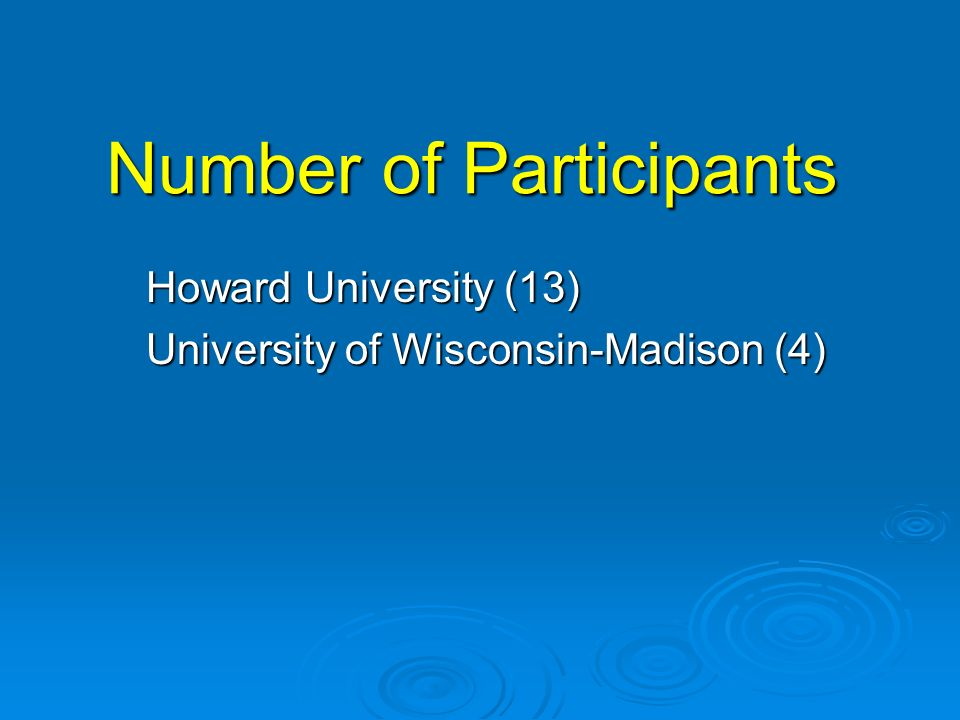 Number of Participants Howard University (13) University of Wisconsin-Madison (4)