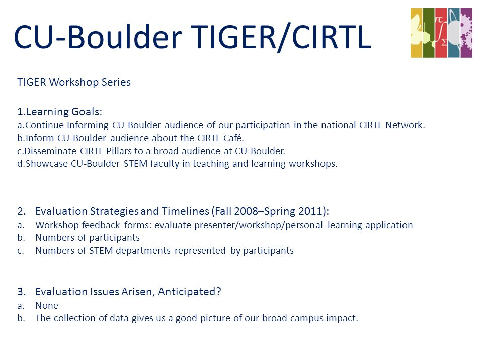 TIGER Workshop Series 1.Learning Goals: a.Continue Informing CU-Boulder audience of our participation in the national CIRTL Network.