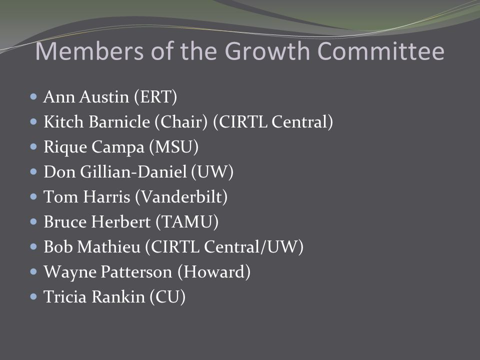 Members of the Growth Committee Ann Austin (ERT) Kitch Barnicle (Chair) (CIRTL Central) Rique Campa (MSU) Don Gillian-Daniel (UW) Tom Harris (Vanderbilt) Bruce Herbert (TAMU) Bob Mathieu (CIRTL Central/UW) Wayne Patterson (Howard) Tricia Rankin (CU)