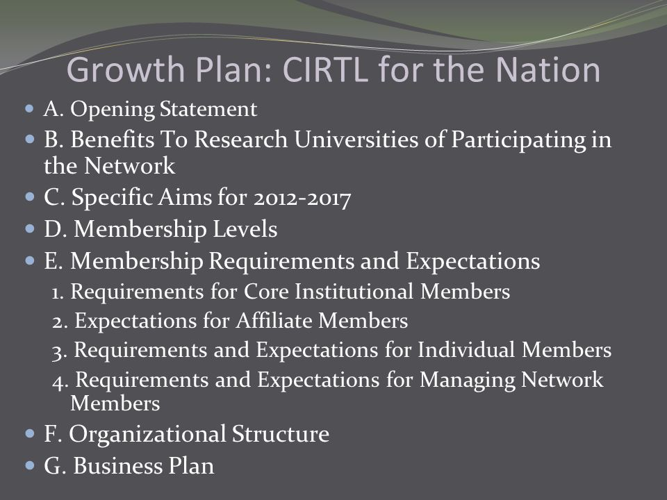 Growth Plan: CIRTL for the Nation A. Opening Statement B. Benefits To Research Universities of Participating in the Network C. Specific Aims for 2012-
